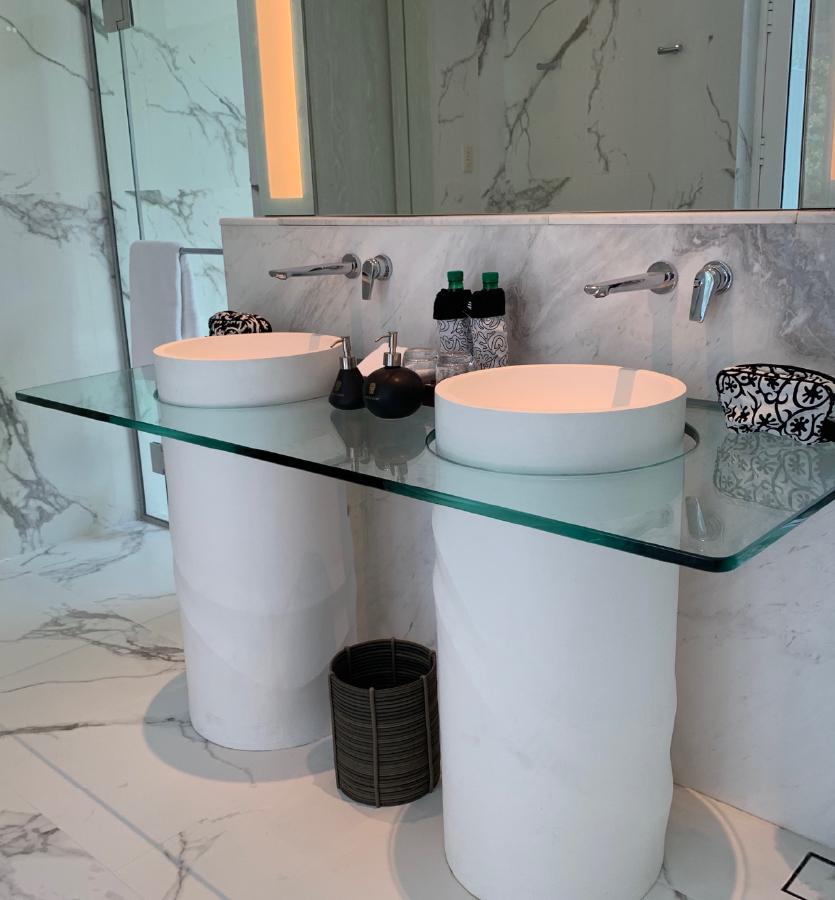 custom freestanding basins in bathrooms in Banyan Tree Krabi in Thailand new resort by Banyan Tree Group